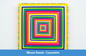 A series of 18 by 18 inch square panels, approximately 1.5 inches thick, featuring concentric squares of woven pieces of brightly colored flagging tape that originate as small and thin in the center and then get thicker as they radiate outward.