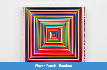 "A series of 18 by 18 inch square panels, approximately 1.5 inches thick, featuring concentric squares of woven pieces of brightly colored flagging tape, each square is approximately 1/16"" thick."